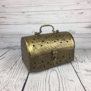 Other - Small Brass Cricket Trinket Box Footed Container